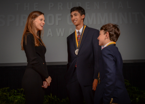 Academy Award-winning actress Hilary Swank congratulates Devin Srivastava, 17, of Spartanburg (center) and Jackson Silverman, 10, of Charleston (right) on being named South Carolina's top two youth volunteers for 2016 by The Prudential Spirit of Community Awards. Devin and Jackson were honored at a ceremony on Sunday, May 1 at the Smithsonian's National Museum of Natural History, where they each received a $1,000 award. (Photo: Zach Harrison Photography)