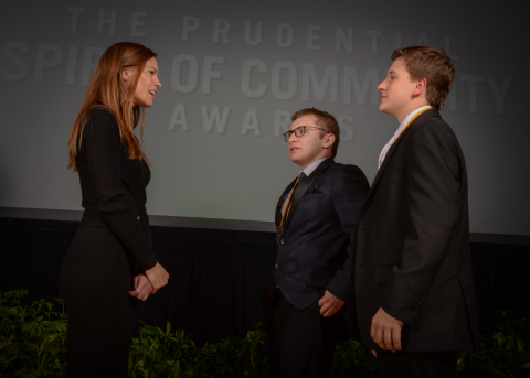 Academy Award-winning actress Hilary Swank congratulates Benjamin Zangoglia, 18, of Old Tappan (center) and Zachary Rice, 13, of Long Valley (right) on being named New Jersey's top two youth volunteers for 2016 by The Prudential Spirit of Community Awards. Benjamin and Zachary were honored at a ceremony on Sunday, May 1 at the Smithsonian's National Museum of Natural History, where they each received a $1,000 award. (Photo: Zach Harrison Photography)