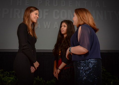 Academy Award-winning actress Hilary Swank congratulates Sofia Salon, 16, of Daniels (center) and Arin Dorsey, 13, of Fayetteville (right) on being named West Virginia's top two youth volunteers for 2016 by The Prudential Spirit of Community Awards. Sofia and Arin were honored at a ceremony on Sunday, May 1 at the Smithsonian's National Museum of Natural History, where they each received a $1,000 award. (Photo: Zach Harrison Photography)