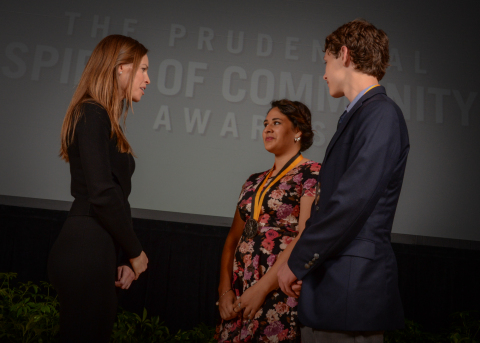 Academy Award-winning actress Hilary Swank congratulates Cameron Estrada, 18, of Roswell (center) and Cody Osborn, 13, of Belen (right) on being named New Mexico's top two youth volunteers for 2016 by The Prudential Spirit of Community Awards. Cameron and Cody were honored at a ceremony on Sunday, May 1 at the Smithsonian's National Museum of Natural History, where they each received a $1,000 award. (Photo: Zach Harrison Photography)