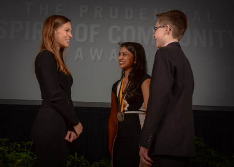 Academy Award-winning actress Hilary Swank congratulates Reshini Premaratne, 17, of Glen Allen (center) and Chase Anthony, 13, of Virginia Beach (right) on being named Virginia's top two youth volunteers for 2016 by The Prudential Spirit of Community Awards. Reshini and Chase were honored at a ceremony on Sunday, May 1 at the Smithsonian's National Museum of Natural History, where they each received a $1,000 award. (Photo: Zach Harrison Photography)