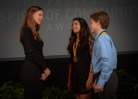 Academy Award-winning actress Hilary Swank congratulates Dimple Belani, 17, of Bellerose (center) and Cole Faller, 13, of Roslyn Heights (right) on being named New York's top two youth volunteers for 2016 by The Prudential Spirit of Community Awards. Dimple and Cole were honored at a ceremony on Sunday, May 1 at the Smithsonian's National Museum of Natural History, where they each received a $1,000 award. (Photo: Zach Harrison Photography)