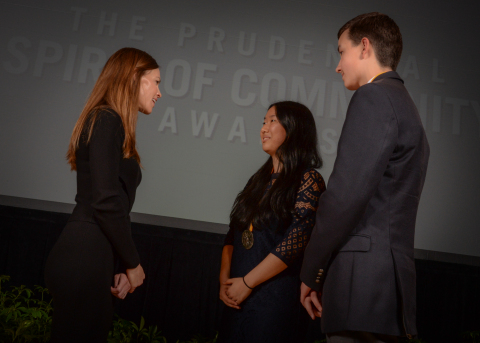 Academy Award-winning actress Hilary Swank congratulates Alisha Zhao, 17, of Portland (center) and Michael Murray, 14, of Lake Oswego (right) on being named Oregon's top two youth volunteers for 2016 by The Prudential Spirit of Community Awards. Alisha and Michael were honored at a ceremony on Sunday, May 1 at the Smithsonian's National Museum of Natural History, where they each received a $1,000 award. (Photo: Zach Harrison Photography)