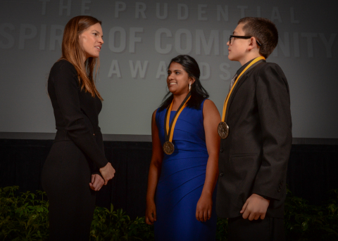 Academy Award-winning actress Hilary Swank congratulates Ananya Murali, 18, of Shorewood (center) and Luke Smith, 13, of Manitowoc (right) on being named Wisconsin's top two youth volunteers for 2016 by The Prudential Spirit of Community Awards. Ananya and Luke were honored at a ceremony on Sunday, May 1 at the Smithsonian's National Museum of Natural History, where they each received a $1,000 award. (Photo: Zach Harrison Photography)