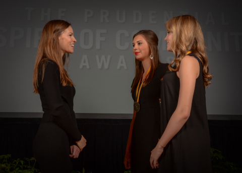 Academy Award-winning actress Hilary Swank congratulates Sarah Kellogg, 18, of Yukon (center) and Olivia Kuester, 14, of Coweta (right) on being named Oklahoma's top two youth volunteers for 2016 by The Prudential Spirit of Community Awards. Sarah and Olivia were honored at a ceremony on Sunday, May 1 at the Smithsonian's National Museum of Natural History, where they each received a $1,000 award. (Photo: Zach Harrison Photography)
