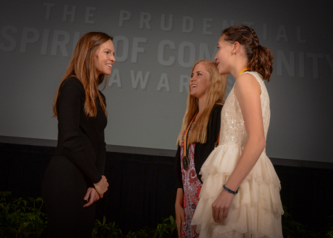 Academy Award-winning actress Hilary Swank congratulates Nicole Steiner, 17, of Parker (center) and Madelene Kleinhans, 14, of Broomfield (right) on being named Colorado's top two youth volunteers for 2016 by The Prudential Spirit of Community Awards. Nicole and Madelene were honored at a ceremony on Sunday, May 1 at the Smithsonian's National Museum of Natural History, where they each received a $1,000 award. (Photo: Zach Harrison Photography)