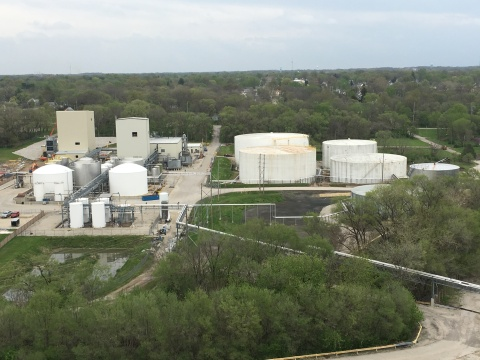 Upgrades and improvements at Renewable Energy Group's Danville, IL biorefinery include the addition of a distillation tower (far left) and approximately 14 million gallons of additional storage(right). Photo Courtesy REG