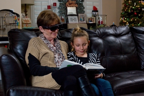 In a partnership that could change the lives of millions of people, NuEyes and Osterhout Design Group announced the availability of portable head-worn devices that can re-open the wearer's eyes to a world they believed forever lost due to failing sight. (Photo: Business Wire)