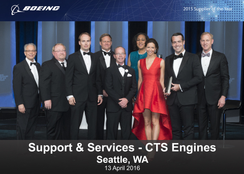 CTS Engines Team Accepts 2015 Supplier of the Year Award From left to right: Paul Pasquier, Boeing Vice President, Global Technology and Supplier Management, Engineering, Test & Technology; Jack House, Boeing Vice President, Supplier Management, Defense, Space & Security; Vesa Paukkeri, President and COO, CTS Engines; Kent Fisher, Boeing Vice President and General Manager, Supplier Management, Commercial Airplanes;James Green, VP of Sales and Customer Service, CTS Engines; Joan Robinson-Berry, Boeing Vice President, Supplier Management, Shared Services Group; Jana Neff; Brian Neff, CEO, CTS Engines; Pat Shanahan, Boeing Senior Vice President, Supply Chain & Operations (Photo: Business Wire)