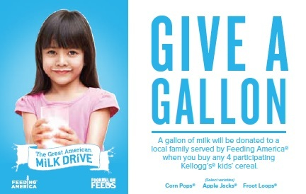 A gallon of milk will be donated to a local family in need every time you buy four participating cer ...