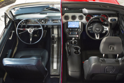 This split-personality Mustang -- part 1965 and 2015 Mustang -- is part of a new, permanent Intellec ...