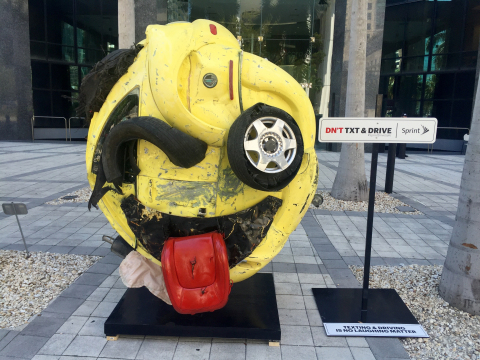 """Sprint's """"The Last Emoji"""" sculpture shows the twisted consequences of texting and driving. (Photo: Business Wire)"""