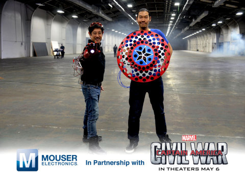 Grant Imahara and Allen Pan show off their creations - a repulsor force Iron Man gauntlet and a boom ...