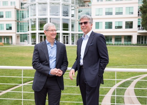 Apple CEO Tim Cook and SAP CEO Bill McDermott meet at Apple's campus in Cupertino to announce a new  ...
