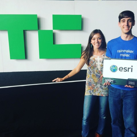 Esri's Startup Program Manager Katie Decker (left) awarding 2015 TechCrunch Winner. (Photo: Business ...