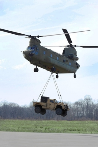 The Oshkosh JLTV can be air transported internally by a C-130, C-5 and C-17, or externally by CH-47  ...