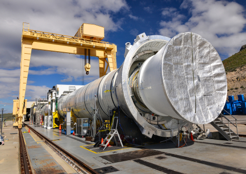 The five-segment solid rocket motor that will be used for NASA's Space Launch System has been installed in a specialized test stand and is being prepared for a June 28 ground test in Promontory, Utah. (Photo: Business Wire)