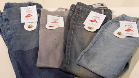 Knit denim with LYCRA® HYBRID technology and finishing by Garmon Chemicals. From left to right: Fabric from Advance Denim, Willy Hermann, Knitdigo and Hengliang. (Photo: Business Wire)