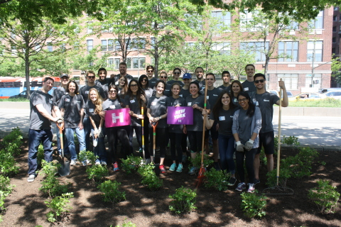 Employees in New York beautified a public park during the Huron Day of Service 2015. (Photo: Busines ...