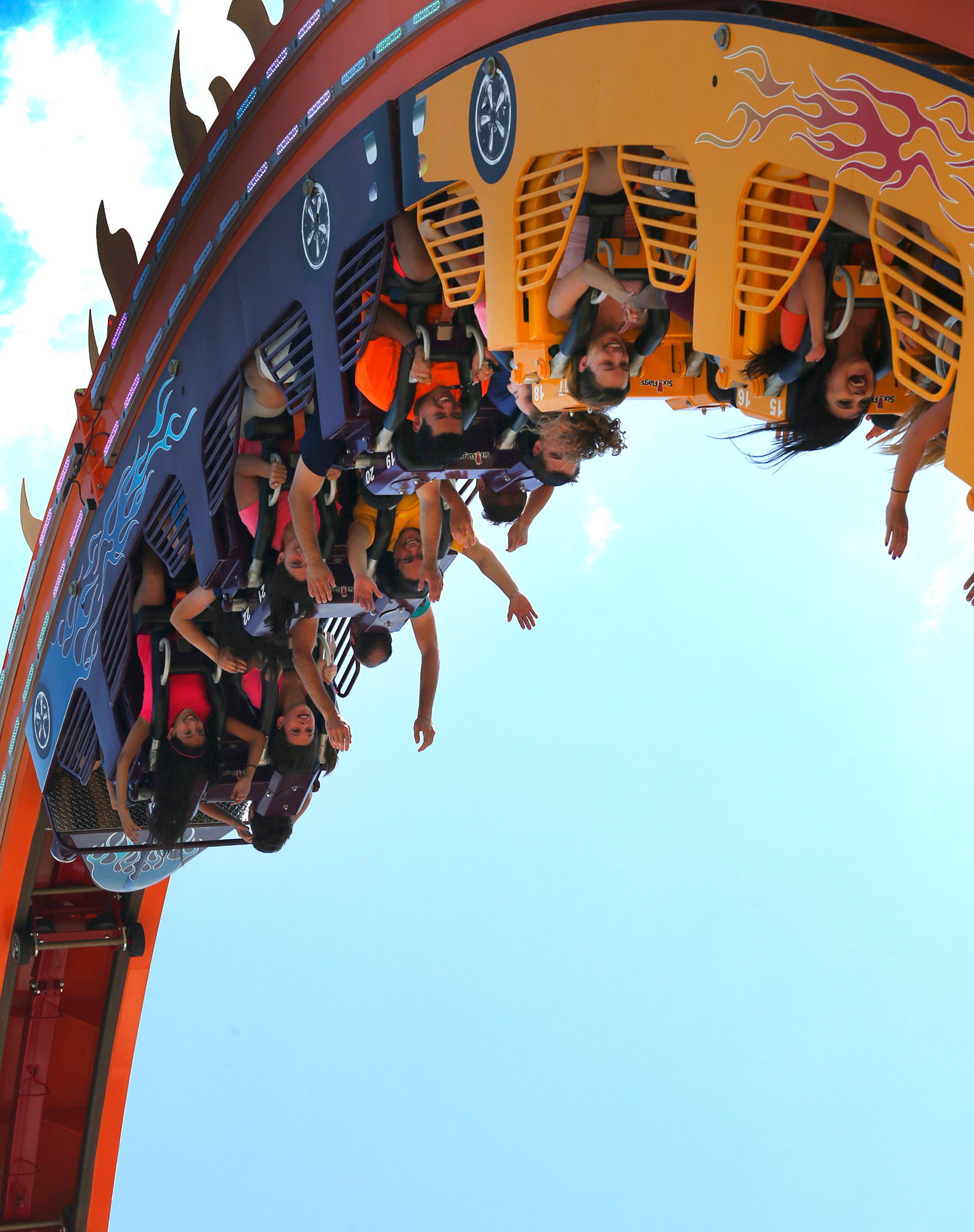 The looping sensation, Fireball, is now open at Six Flags Fiesta Texas in San Antonio. Guests are rocketed forward-and-backward through 360 degree revolutions and a feeling of weightlessness during their thrilling journey. (Photo: Business Wire)