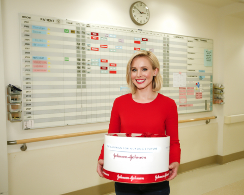 Actress and mother, Kristen Bell partnered with Johnson & Johnson and the Johnson & Johnson Campaign for Nursing's Future to celebrate National Nurses Week (May 6-12). To honor the millions of nurses and all they do; she surprised the nurses at Providence Saint Joseph Medical Center in Los Angeles and is encouraging everyone to download the Johnson & Johnson Donate a Photo app and share a photo to support nursing student scholarships. (Photo: Business Wire)