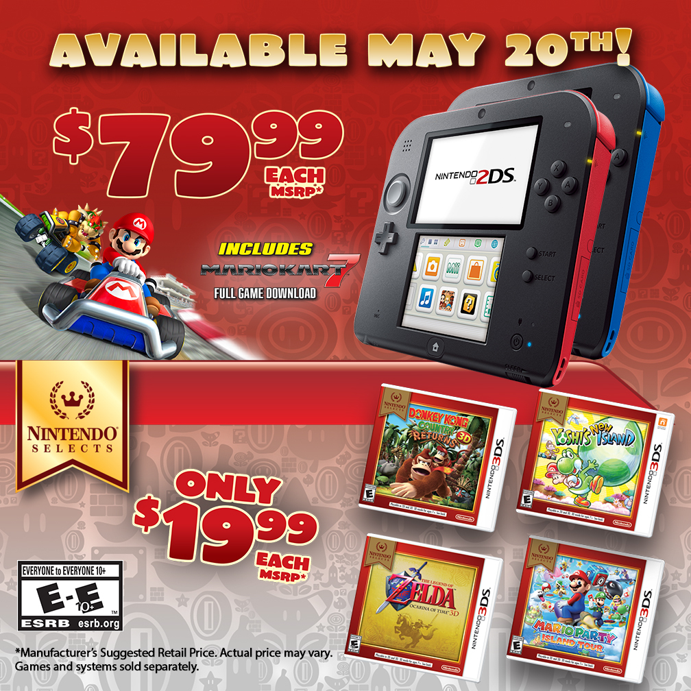 On May 20, Nintendo will lower the price of its portable 2DS system to a suggested retail price of $79.99. The system has a library full of high-quality games for purchase, some in the Nintendo Selects category for less than $20 each. (Photo: Business Wire)