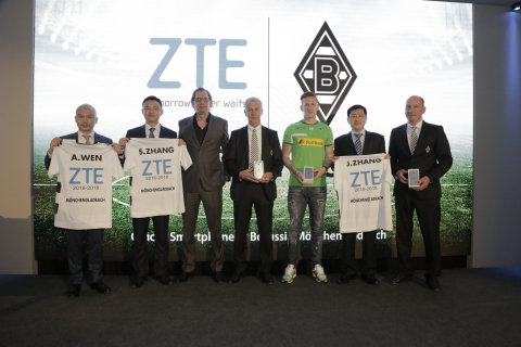 Representatives from ZTE and German football team Borussia Mönchengladbach at press conference (Phot ...