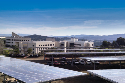 Solar carport at Buck Institute provides shade canopy to vehicles while generating green electricity. (Photo: Business Wire)