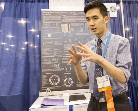 PHOENIX, May 13, 2016 – Top winner Austin Wang, 18, of Vancouver, Canada shares his research at the Intel International Science and Engineering Fair, the world's largest high school science research competition. Approximately 1,700 high schoolers from over 75 countries, region and territories competed for more than $4 million in awards this week. PHOTO CREDIT: Intel/Shawn Morgan