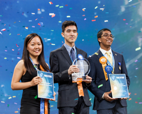 PHOENIX, May 13, 2016 – Top winner Austin Wang, 18, of Vancouver, Canada (center) with second-place winners Kathy Liu, 17 of Salt Lake City, Utah (left) and Syamantak Payra, 15, of Friendswood, Texas, celebrate their awards at the Intel International Science and Engineering Fair, the world's largest high school science research competition. Approximately 1,700 high schoolers from over 75 countries, region and territories competed for more than $4 million in awards this week. PHOTO CREDIT: Intel/Shawn Morgan