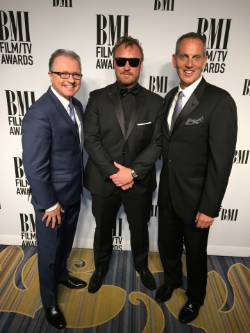 (L-R) Gilles Godard (VP, Corporate Affairs and Development, ole), Composer Jeppe Riddervold, and Michael O'Neill (CEO, BMI) (Photo: Business Wire)