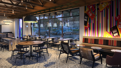 Heritage: Inspired by its culinary roots in Mexican-inspired food with a twist, this style is a modern interpretation of Taco Bell's original Mission Revival style characterized by warm white walls with classic materials in the tile and heavy timbers.