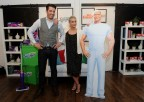 """Ashlee Simpson Ross, singer, mom and design enthusiast, and home design expert and """"Property Brother"""" Jonathan Scott join Swiffer and Mr. Clean, Tuesday, May 17, 2016, in New York, to show how easy it is to achieve and maintain a clean slate when moving.  (Diane Bondareff/Invision for Procter & Gamble/AP Images)"""