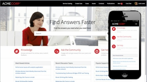 With ServiceNow Customer Service Management, customers get help quickly when they need it from the self-service portal – either from their desktop or the responsive mobile app. (Graphic: Business Wire)