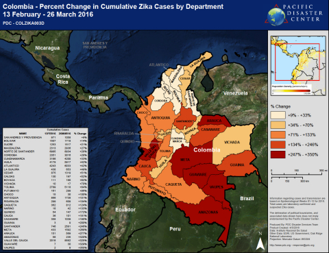 Used in PDC's efforts, the map displays the percent change in cumulative Zika cases by department in ...