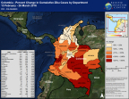 Used in PDC's efforts, the map displays the percent change in cumulative Zika cases by department in Colombia. (Graphic: Business Wire)