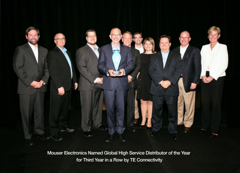 TE Connectivity honors Mouser with its prestigious Global High Service Distributor of the Year Award for the third consecutive year. Pictured left to right are TE and Mouser executives Terrence Curtin (President, TE Connectivity), Keith Privett, Les Balamut, Glenn Smith (President and CEO, Mouser Electronics), Tom Lynch (CEO, TE Connectivity), Russell Rasor, Martina Drimala, Mark Burr-Lonnon, Jeff Newell, and Joan Wainwright (President, Channel and Customer Experience, TE Connectivity). (Photo: Business Wire)