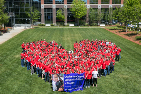 Staples associates showing their love for the community as they prepare to stuff 20,000 backpacks for local students at Cradles to Crayons Backpack-A-Thon at Staples Headquarters. (Photo: Business Wire)