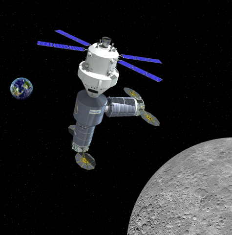 Artist rendering of Orbital ATK's initial lunar outpost, as it would appear with NASA's Orion spacecraft in 2021 (credit: Orbital ATK).
