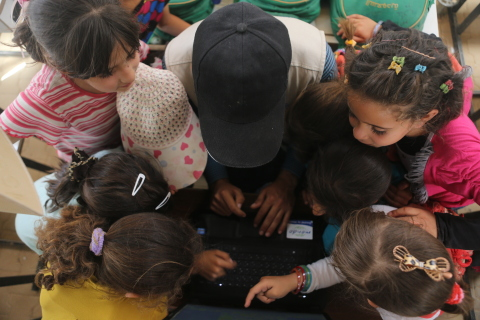 SES And SOLARKIOSK Bring Power and Internet to an Education Centre in a Jordanian Refugee Camp (Phot ...