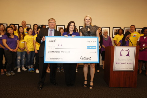 Houston Area Women's Center receives $100,000 donation from the Reliant Gives program, Reliant's new charitable giving initiative. (Photo: Business Wire)