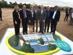 Hilton's Alexandra Jaritz, Jim Holthouser and Bill Fortier join Oklahoma Governor Mary Fallin, Oklahoma City Mayor Mick Cornett, Local Councilman Larry McAtee and Champ Patel, CEO of Champion Hotels, LLC, to celebrate Tru by Hilton's Oklahoma City groundbreaking. (Photo: Business Wire)