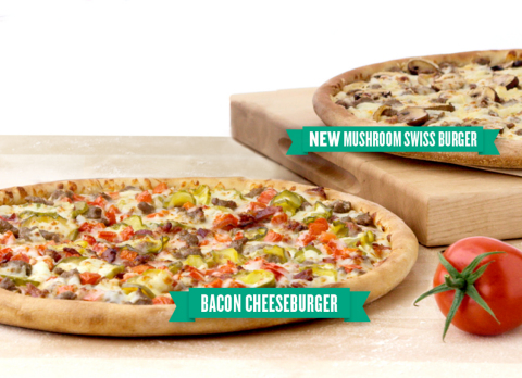 Papa John's Bacon Cheeseburger Pizza and NEW Mushroom Swiss Burger Pizza (Photo: Business Wire)