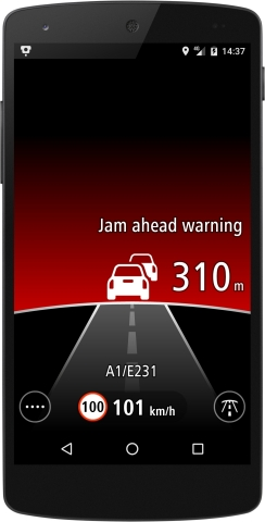 TomTom Jam Ahead Warnings alert drivers to rapidly slowing or stationary traffic on the highway ahea ...