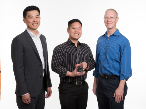 City of Lake Forest, CA: Glenn Park, City of Lake Forest EnerGov Project Manager, stands with Simon Shin, GIS/Application Technician, and Doug McBratney, IT Manager after receiving their award (Photo: Business Wire)