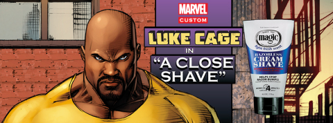 Magic® Shave, the undisputed leader in African American men's grooming and shaving, is pleased to announce a super collaboration with Marvel Comic's Luke Cage, the Super Hero for hire who's known for being rough around the edges but always clean cut. (Photo: Business Wire)