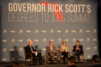 The business executive panel during Florida Gov. Rick Scott's Degrees to Jobs Summit in Orlando. From left: Gov. Scott, Rick Matthews of Northrop Grumman, Krista Memmelaar of Hertz and Jim Girard of Harris Corporation. (Photo: Business Wire)