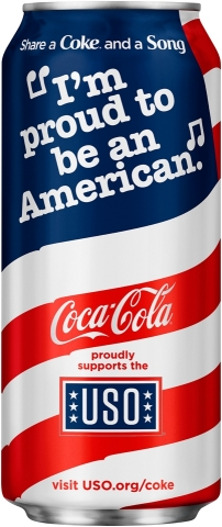 Coca-Cola launches limited edition patriotic packaging to celebrate 75-year partnership with USO. (Photo: Business Wire)