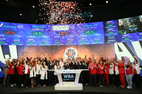 Walgreens Boots Alliance, Inc. Rings Nasdaq Opening Bell in Celebration of Red Nose Day (Photo: Business Wire)