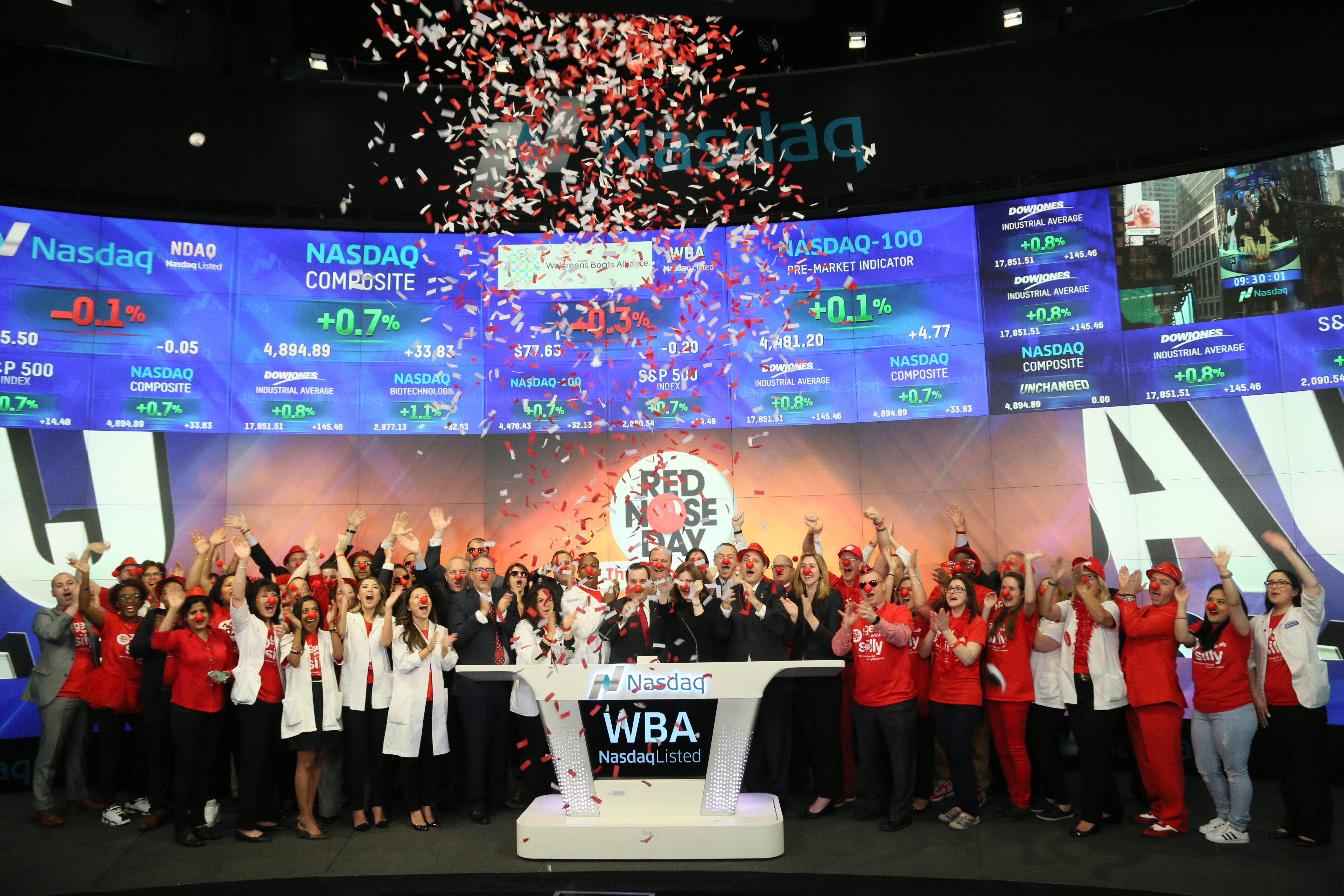 f73d67f407a335 Walgreens Boots Alliance, Inc. Rings Nasdaq Opening Bell in Celebration of  Red Nose Day | Business Wire